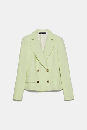 CROPPED DOUBLE BREASTED BLAZER | ZARA United States green