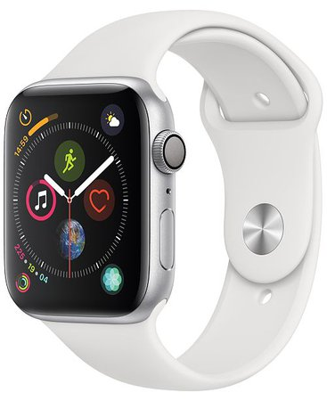 Apple Watch Series 4 AppleWatch Series4 GPS,44mm Silver Aluminum Case with White Sport Band - Watches - Jewelry & Watches - Macy's