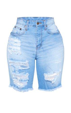 Shape Light Wash Distressed Longline Denim Shorts | PrettyLittleThing