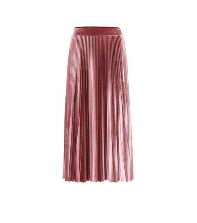 Valentino - Pleated velvet midi skirt | Mytheresa