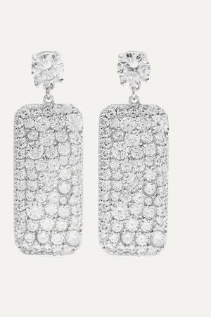 Silver Silver-tone crystal earrings | Kenneth Jay Lane | NET-A-PORTER