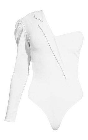 White One Shoulder Blazer Detail Bodysuit | PrettyLittleThing USA