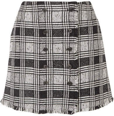 Frayed Checked Wool-blend Tweed Mini Skirt - Black