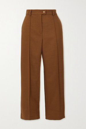 Cropped Twill Straight-leg Pants - Camel