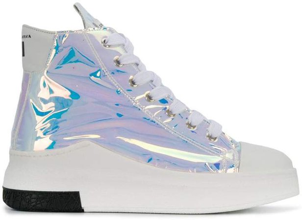 chunky iridescent sneakers