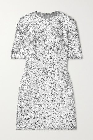 Silver Sequined stretch-tulle mini dress   Dolce & Gabbana   NET-A-PORTER