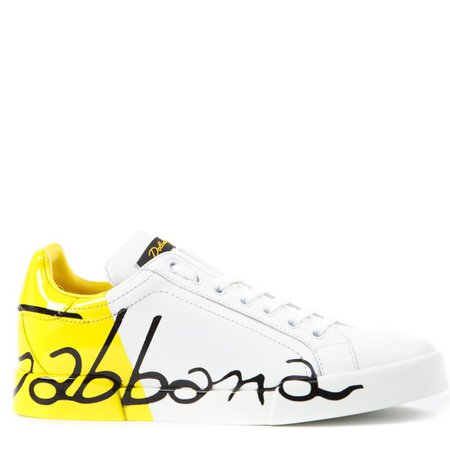 Dolce & Gabbana Leather Sneakers With Dolce & Gabbana Written