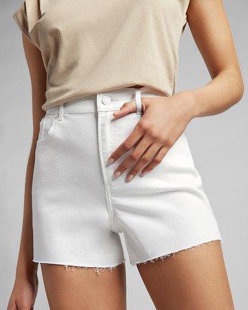 High Waisted White Raw Hem Jean Shorts
