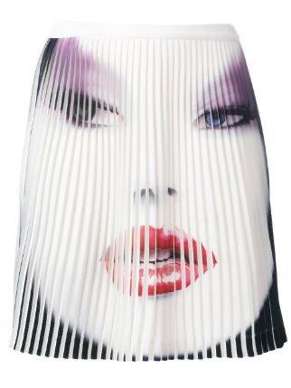 Jeremy Scott Face Printed Pleated Skirt