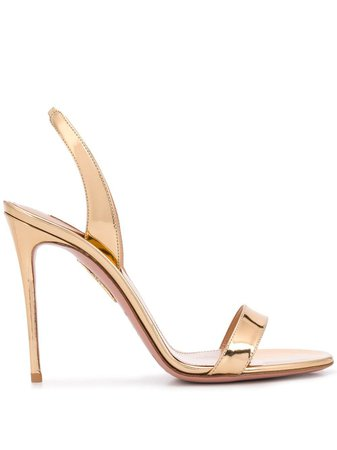 Shop gold Aquazzura So Nude 105 sandals with Express Delivery - Farfetch