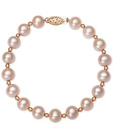 Macy's Pink Cultured Freshwater Pearl (8-1/2mm), Morganite (3/4 ct. t.w.) and Diamond Accent Drop Earrings in 14k Rose Gold - Earrings - Jewelry & Watches - Macy's