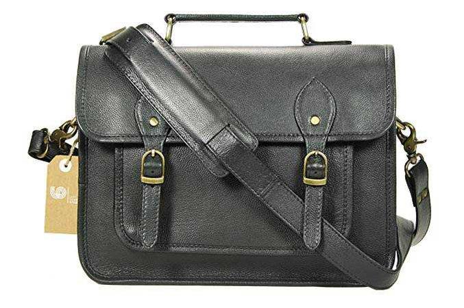 Leftover Studio Pebeled Leather Camera Bag DSLR Messenger Shoulder Case with Removable Camera Caddy 15 Inch Black: Clothing