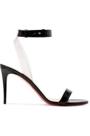 Christian Louboutin | Jonatina 85 PVC-trimmed leather sandals | NET-A-PORTER.COM