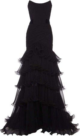 Alberta Ferretti Tiered Strapless Ruffle Silk Gown