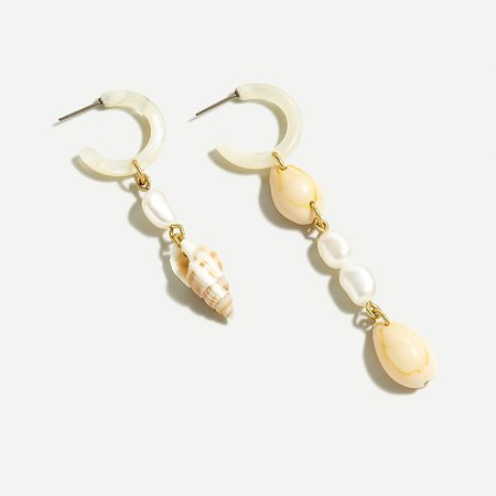 J.Crew: Beachy Mismatched Shell Drop Earrings For Women
