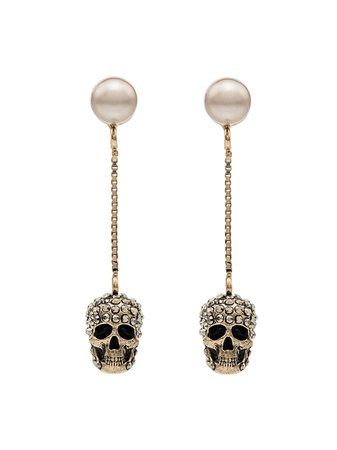 Alexander McQueen pave skull earrings £260 - Shop Online. Same Day Delivery in London