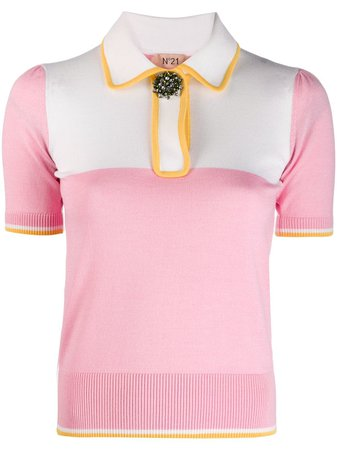 Nº21 Embellished Button Polo Shirt