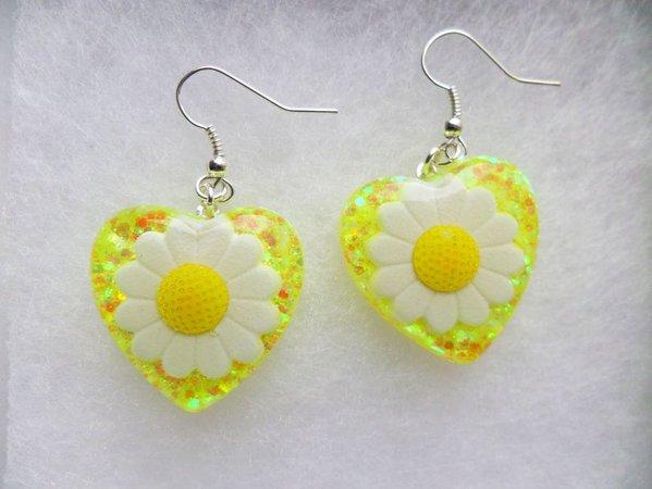 Daisy Spring Yellow White Glitter Festival Gypsy Carnival   Etsy