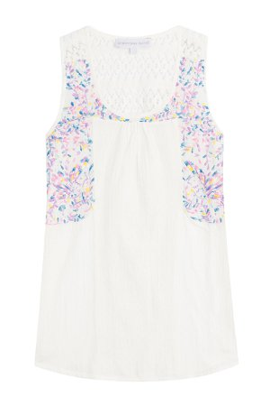 Sleeveless Cotton Top with Embroidery Gr. M
