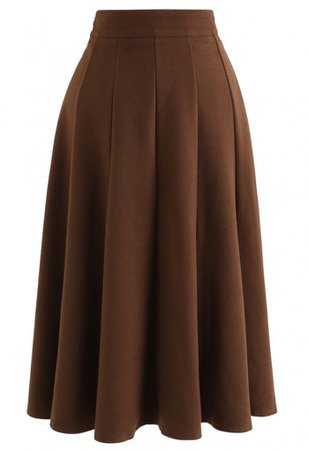 Wool-Blended A-Line Midi Skirt in Brown - NEW ARRIVALS - Retro, Indie and Unique Fashion