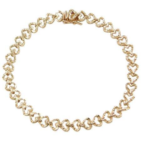 "7"" 14k Gold Heart Bracelet : Arnold Jewelers | Ruby Lane"
