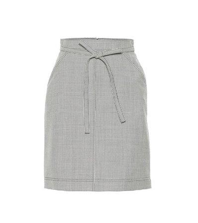 Houndstooth wool-blend skirt
