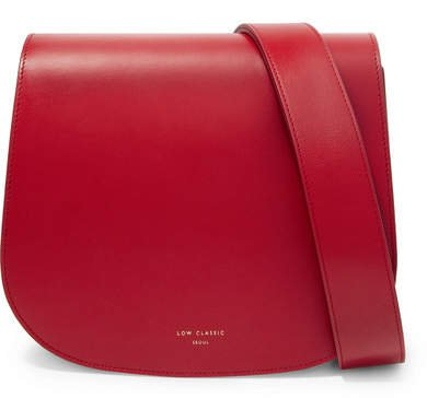 LOW CLASSIC - Color Block Leather Shoulder Bag - Red