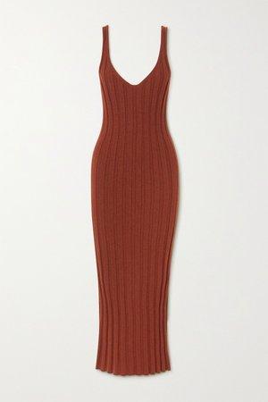 Burgundy Louis ribbed cashmere dress   Khaite   NET-A-PORTER