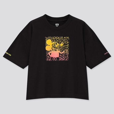 WOMEN MICKEY MOUSE X KEITH HARING UT (SHORT-SLEEVE GRAPHIC T-SHIRT) | UNIQLO US black
