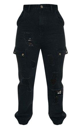 Black Distressed Cargo Pocket Jeans | Denim | PrettyLittleThing AUS