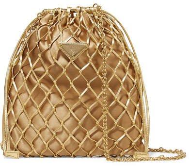 Macramé Leather And Satin Bucket Bag - Gold