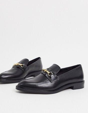 Vagabond Frances snaffle flat leather loafers in black | ASOS