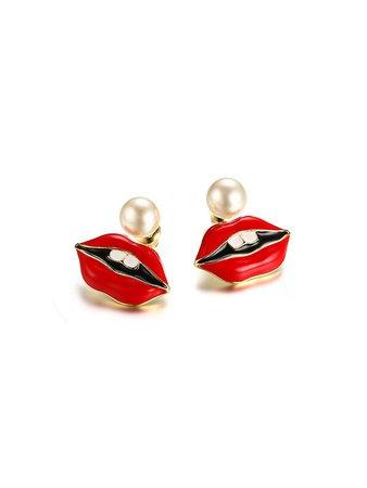 Faux Pearl Detachable Lip Earrings