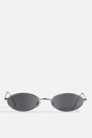 Slender Oval Silver and Smoke Sunglasses - Sunglasses - Bags & Accessories - Topshop USA