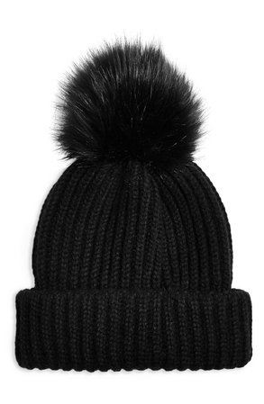 Women's Topshop Faux Fur Pom Beanie - Black