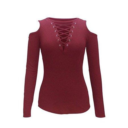 Diamondo Women V Neck Blouse Off Shoulder Long Sleeve Tops T Shirt