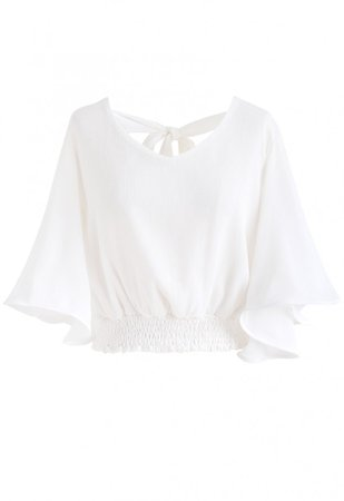 Butterfly Flare Sleeves V-Neck Crop Top in White - NEW ARRIVALS - Retro, Indie and Unique Fashion
