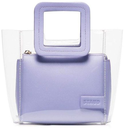 Staud purple Shirley mini leather PVC tote