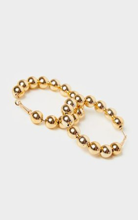 Gold Beaded Hoop Earrings   Accessories   PrettyLittleThing USA