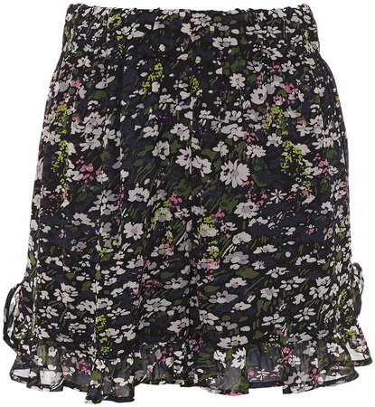 Ruffle-trimmed Floral-print Georgette Shorts
