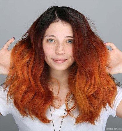 Dark Brown & Orange Ombre Hair