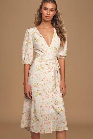 Charlie Holiday Salsa Dress - Wrap Dress - White Midi - Lulus