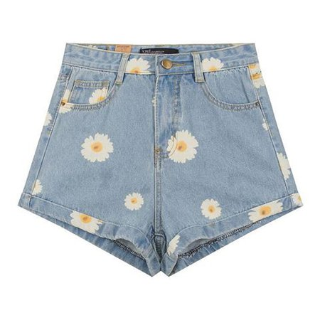 denim daisy printed shorts