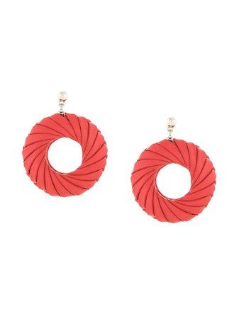 Bottega Veneta Intrecciato Weave Earrings 608686V507C Red | Farfetch
