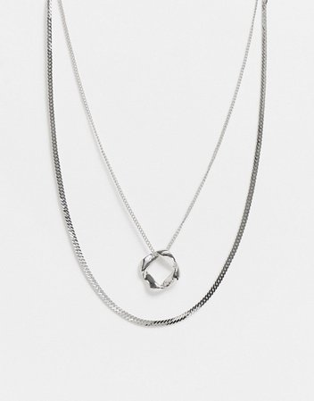 DesignB London multirow necklace with flat chain and circle pendant in silver | ASOS