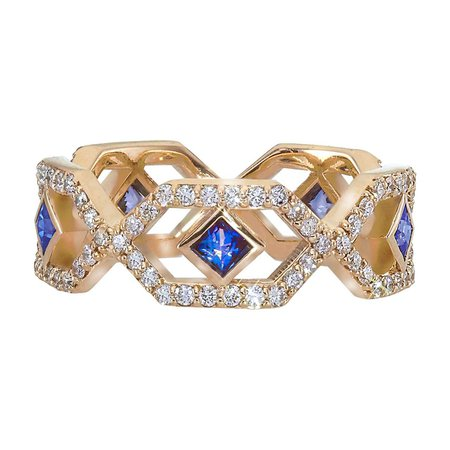Gianna Full Eternity Band with Blue Sapphires and Diamonds by GiGi Ferranti