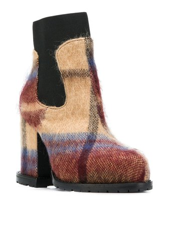 Sacai Check Ankle Boots - Farfetch