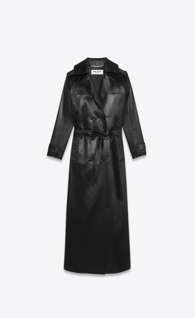 Saint Laurent, LONG DOUBLE-BREASTED TRENCH COAT IN FLUID CHINTZ