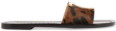 Logo-embellished Leopard-print Calf Hair Slides - Leopard print
