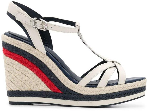 Striped Woven Wedge Heel Sandals